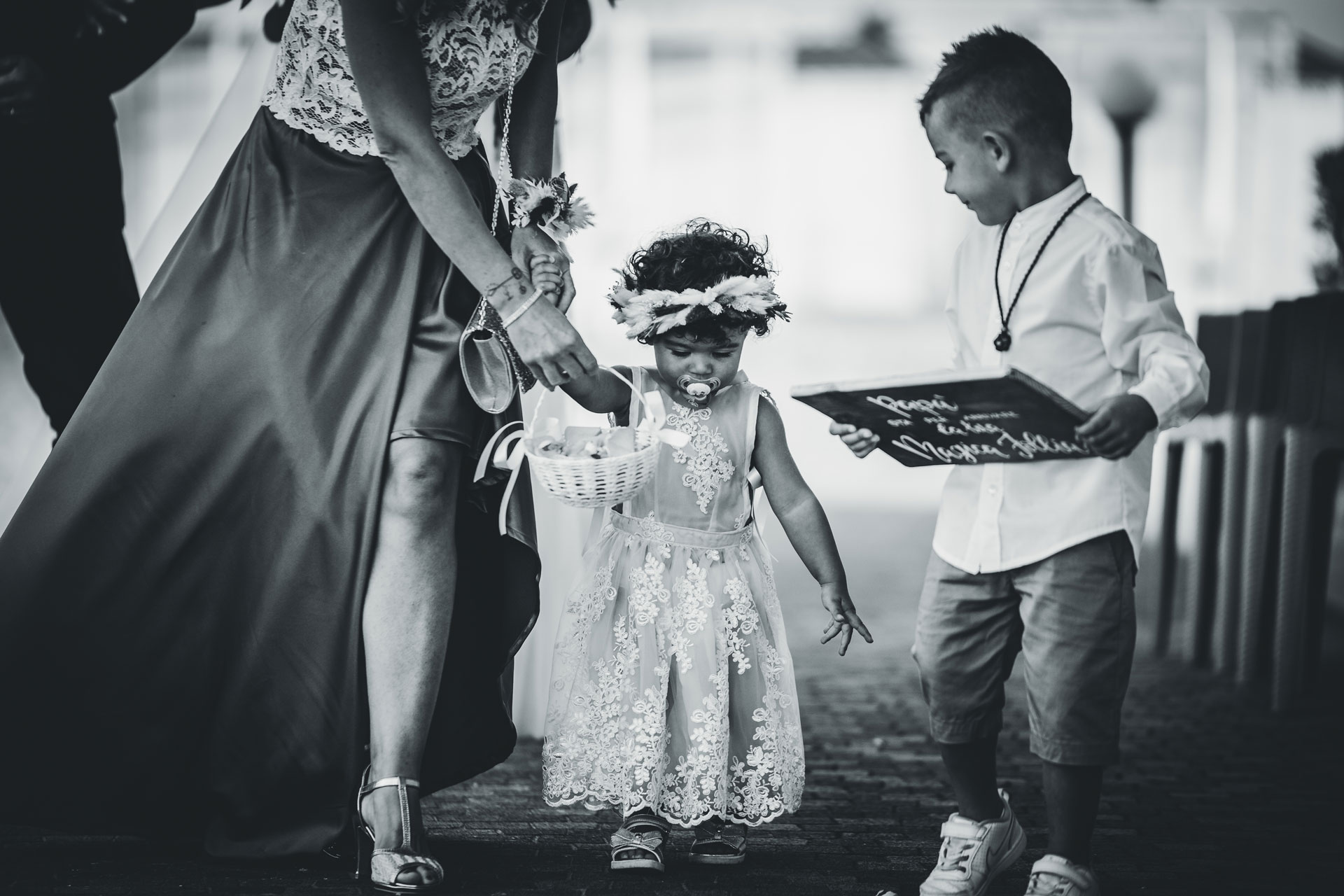 Italy Wedding Photography from Chioggia, IT | Kids in formal wear and comforted by a pacifier