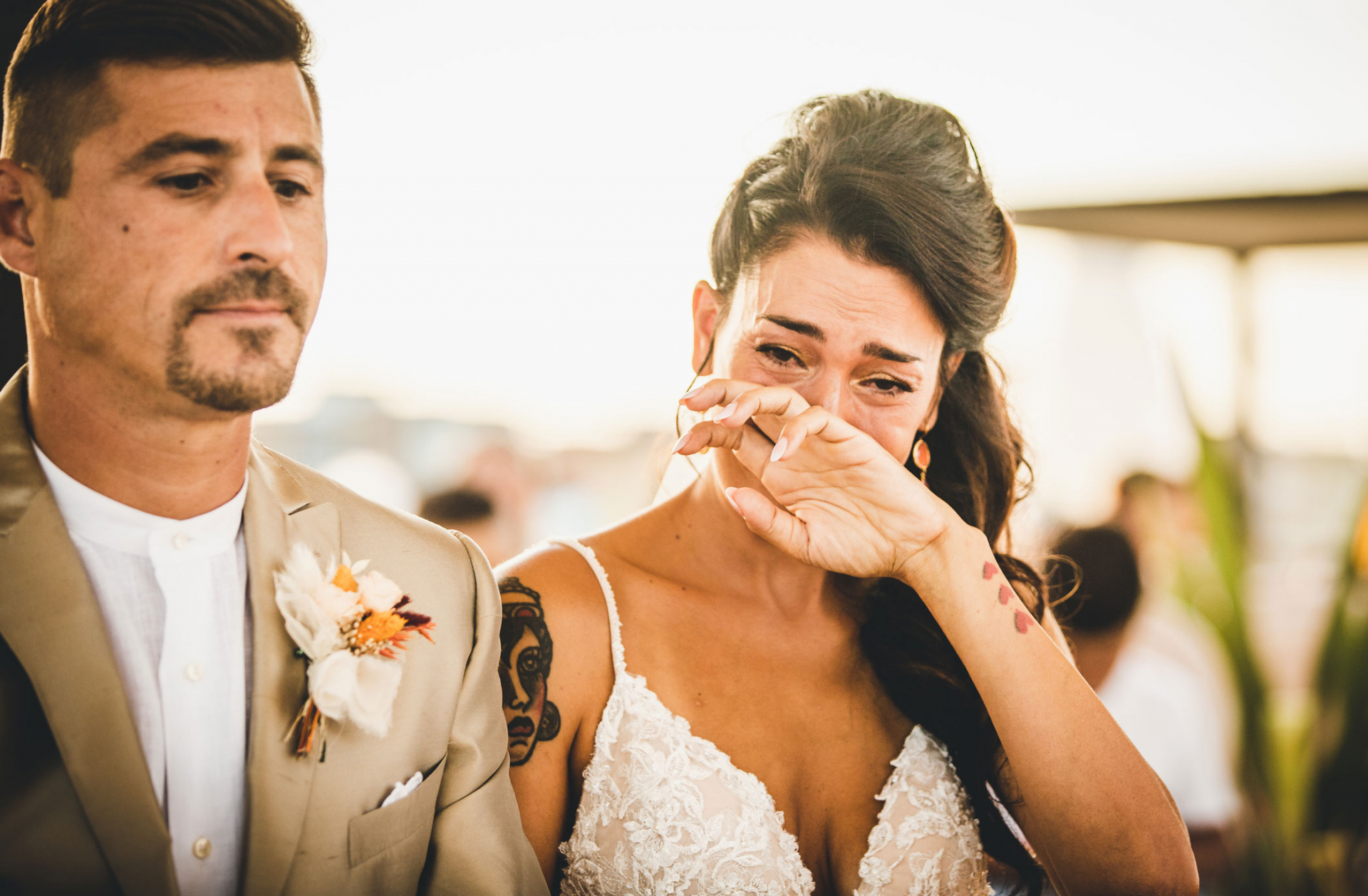 Destination Italian Wedding Photography | The bride is Overcome with emotion during the ceremony