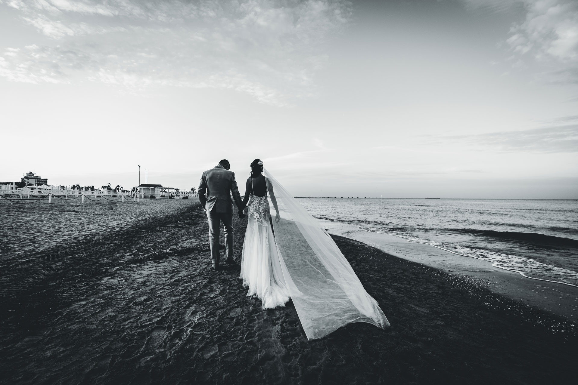 Venetian Lagoon, Chioggia - Italy Wedding Image in BW | the storm had passed and their marriage has begun in earnest