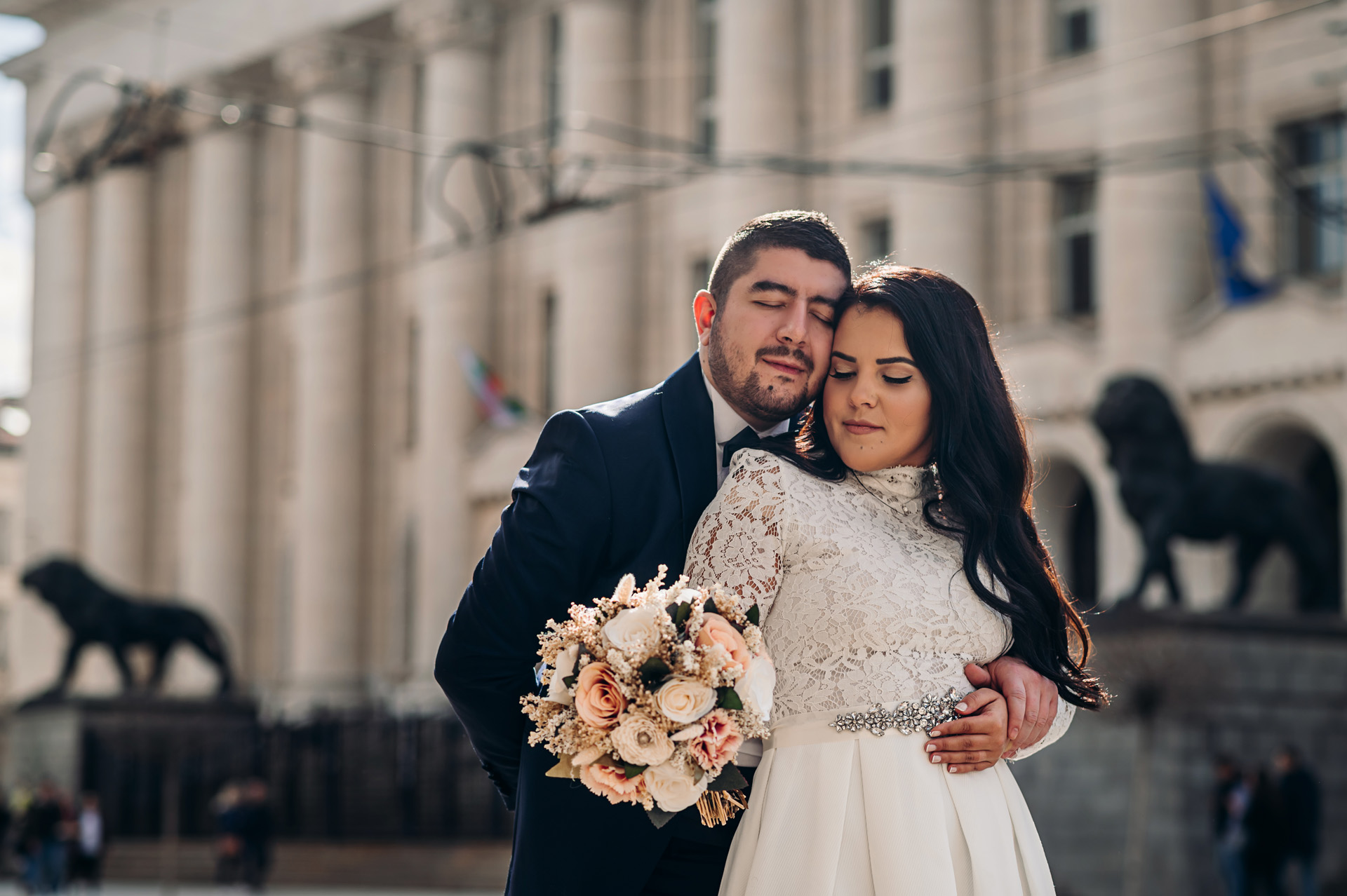 Sofia Wedding Photographer | The couple poses for a powerful and sensual portrait