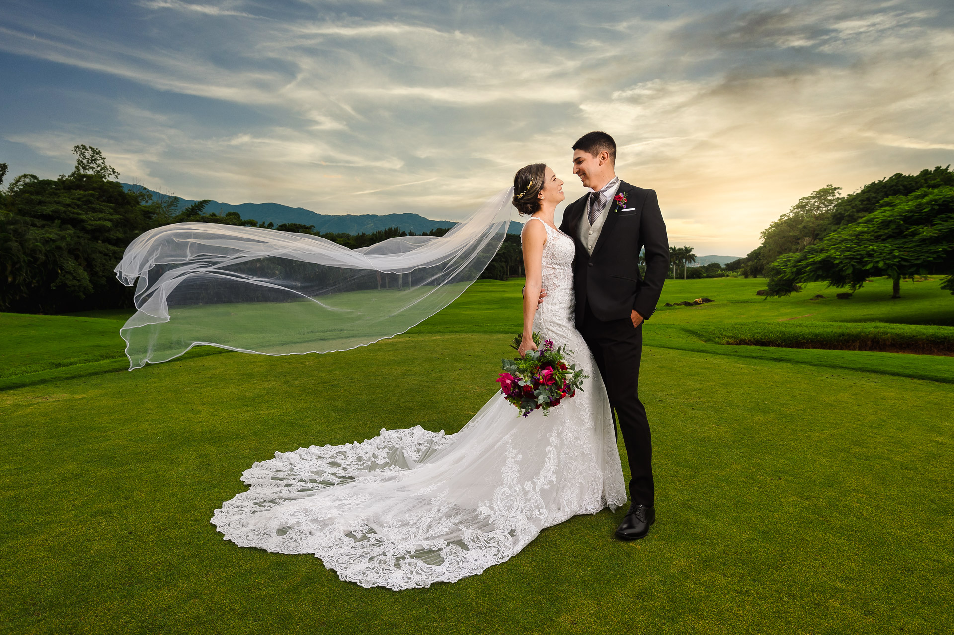 Wedding Photographer of Costa Rica | A portrait of the couple with the stunning background